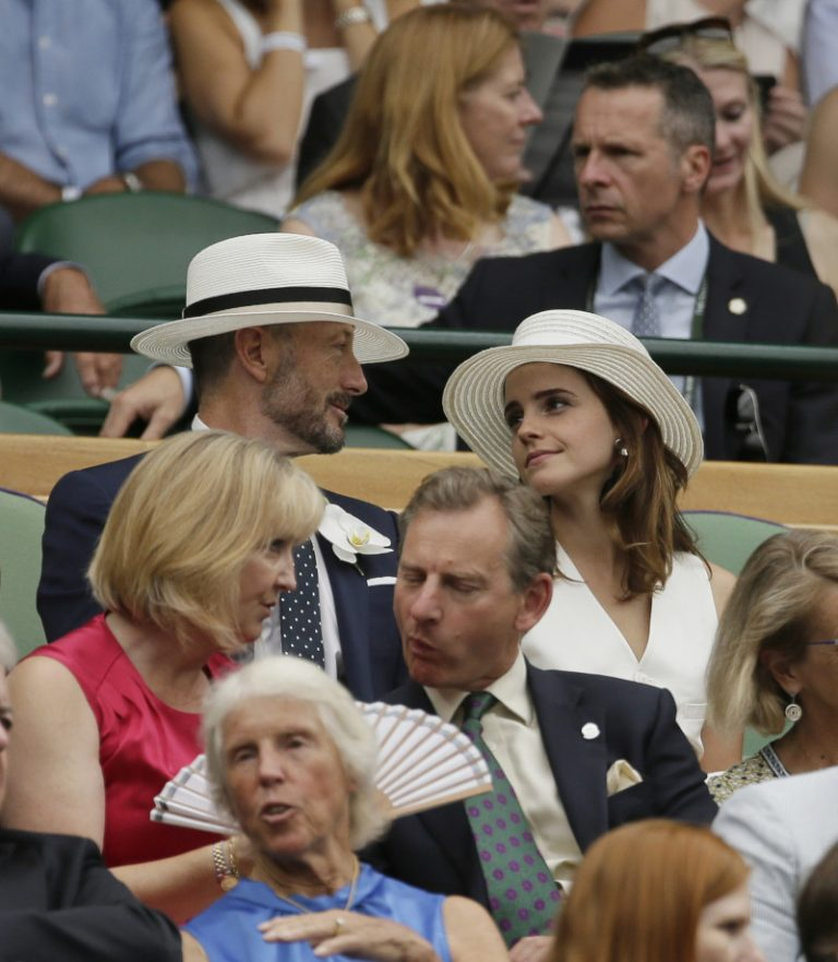 Emma Watson in the Royal Box at Wimbledon.