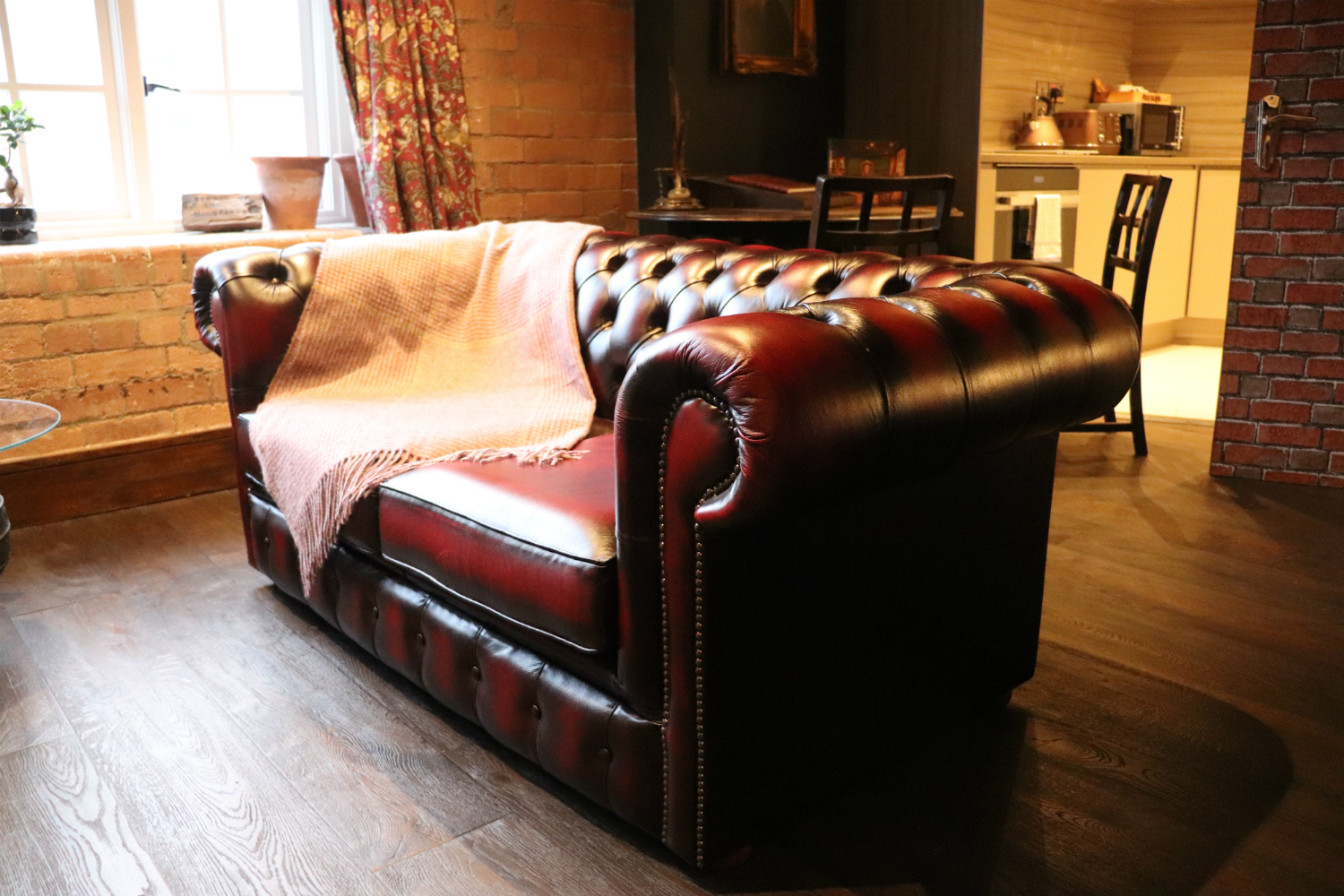 Enchantment Chamber leather couch in living room