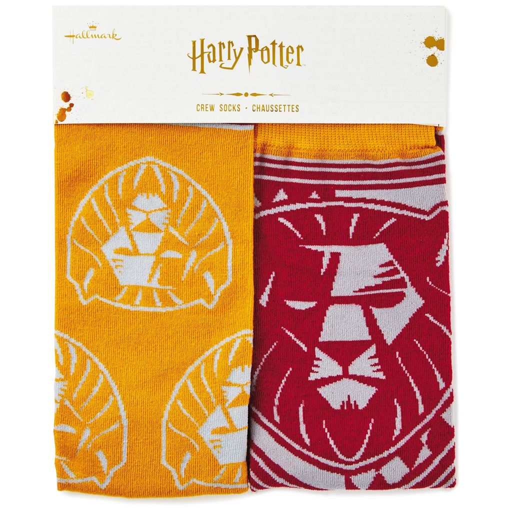 Harry Potter Gryffindor Crew Socks from Hallmark Gold Crown, close-up showing Gryffindor House lion