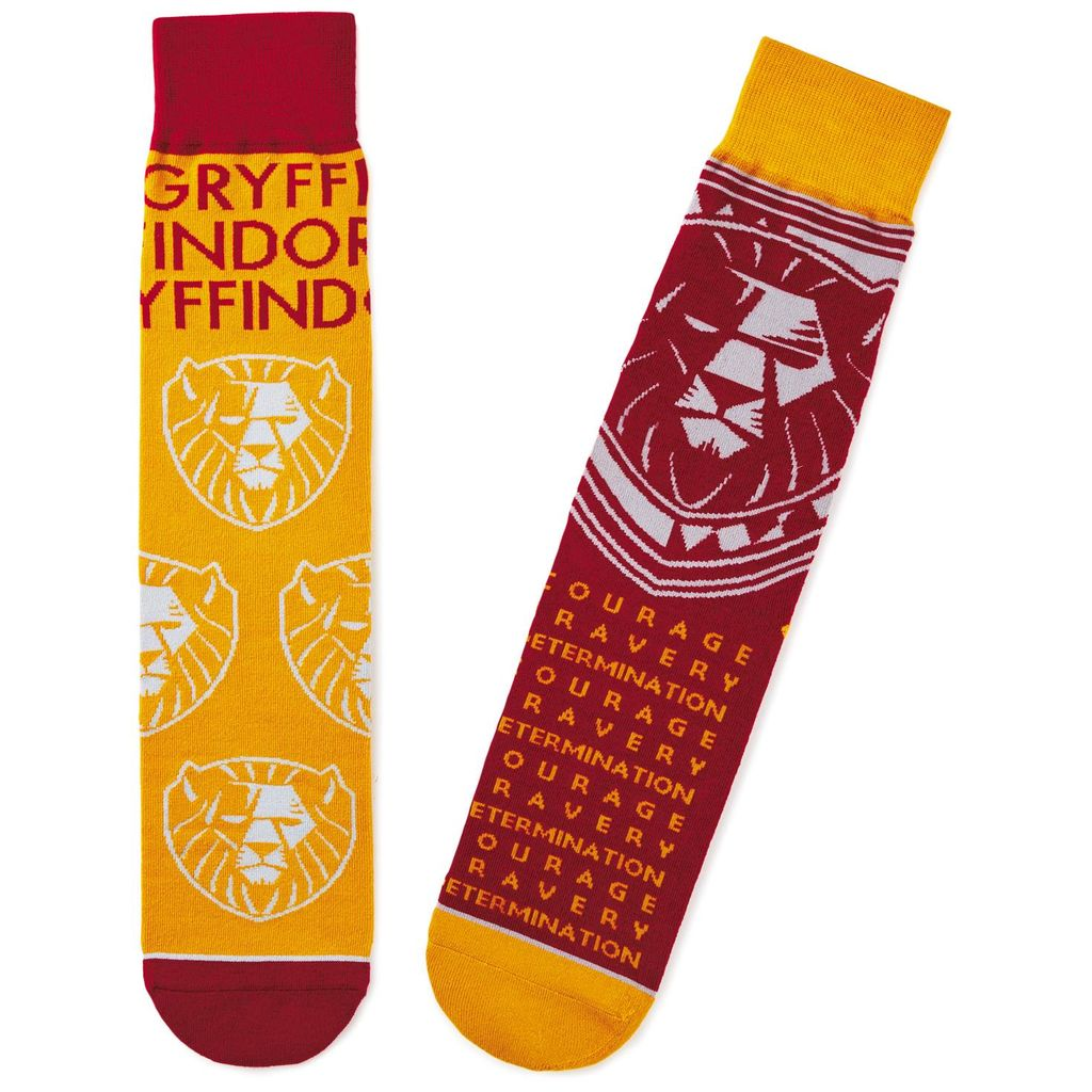 Harry Potter Gryffindor Crew Socks from Hallmark Gold Crown, showing Gryffindor House lion and attributes: courage, bravery, and determination
