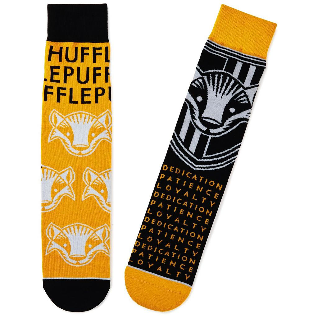 Harry Potter Hufflepuff Crew Socks from Hallmark Gold Crown, showing Hufflepuff House badger and attributes: dedication, patience, and loyalty