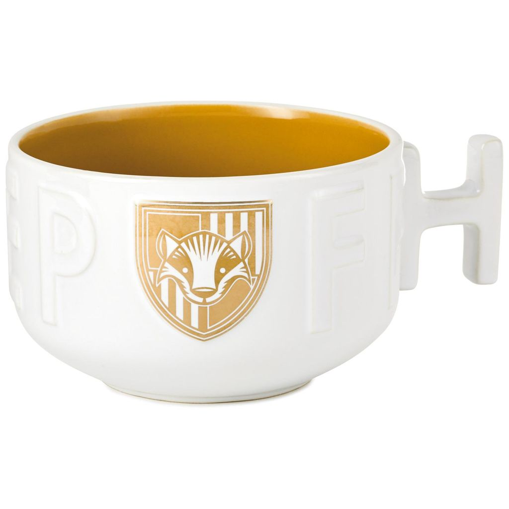 Harry Potter Hufflepuff Soup Mug, showing gold and white detailed badger