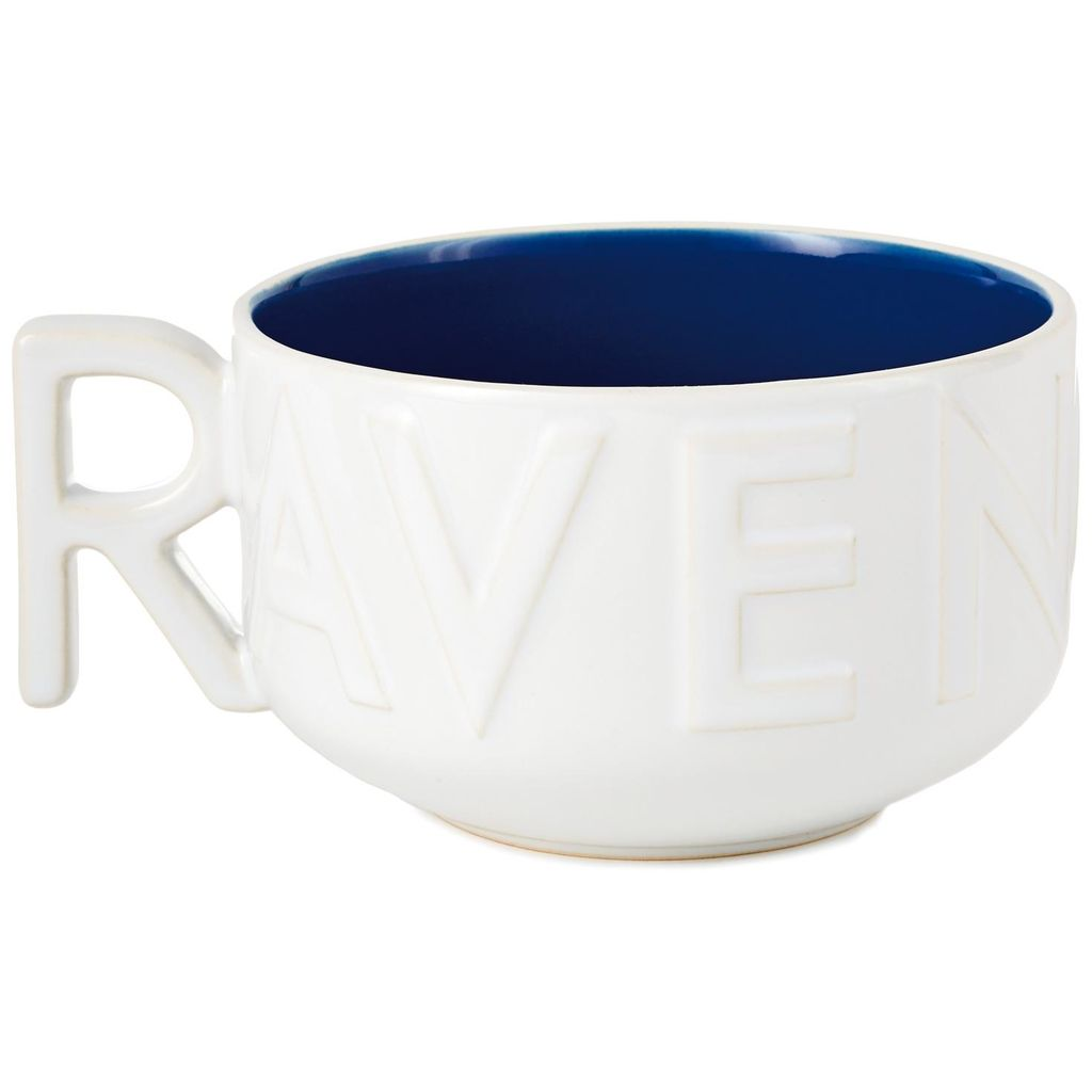 "Harry Potter Ravenclaw Soup Mug, ""R""-shaped handle view"