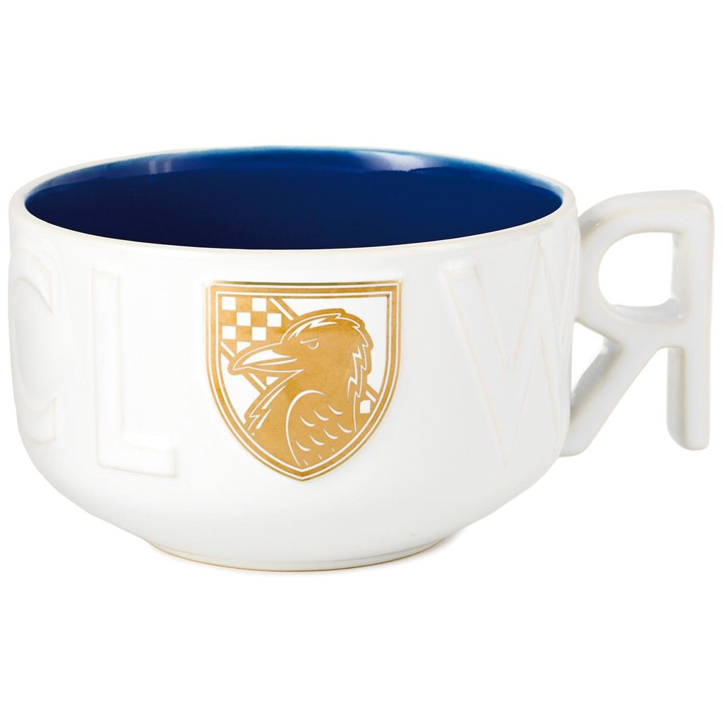 Harry Potter Ravenclaw Soup Mug, showing gold and white detailed raven