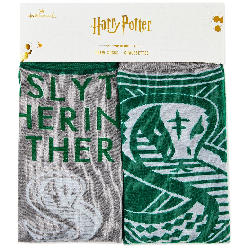 Harry Potter Slytherin Crew Socks from Hallmark Gold Crown, close-up of Slytherin snake