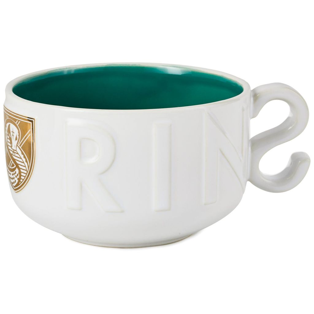 "Harry Potter Slytherin Soup Mug, ""S""-shaped handle view"