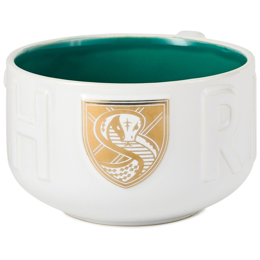 Harry Potter Slytherin Soup Mug, showing gold and white detailed Slytherin snake