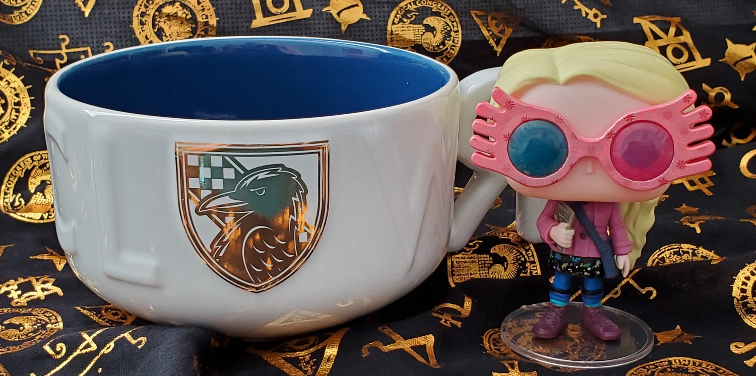 Harry Potter Soup Mug from Hallmark Gold Crown – Ravenclaw crest in gold detail, pictured with Luna Lovegood Funko POP! wearing her Spectrespecs