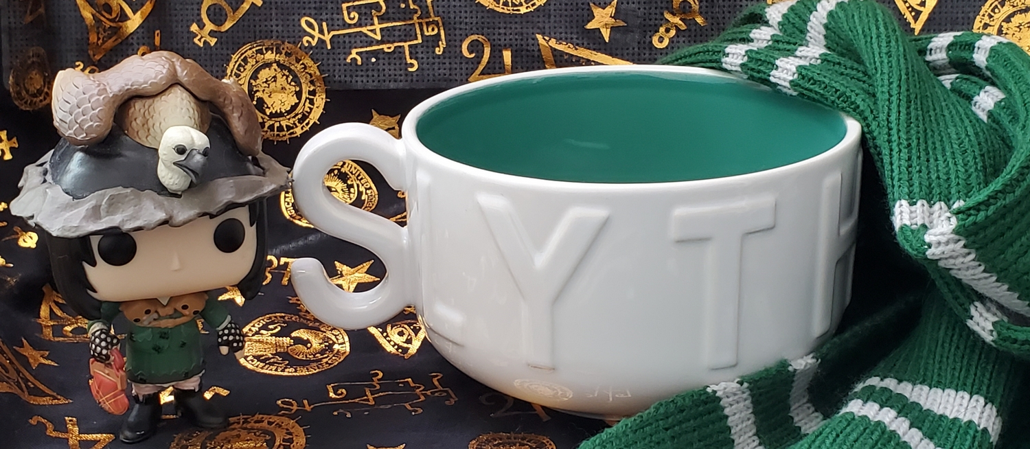 Harry Potter Soup Mug from Hallmark Gold Crown – Slytherin, pictured with green and silver House scarf and Snape as Neville's grandmother Funko POP!