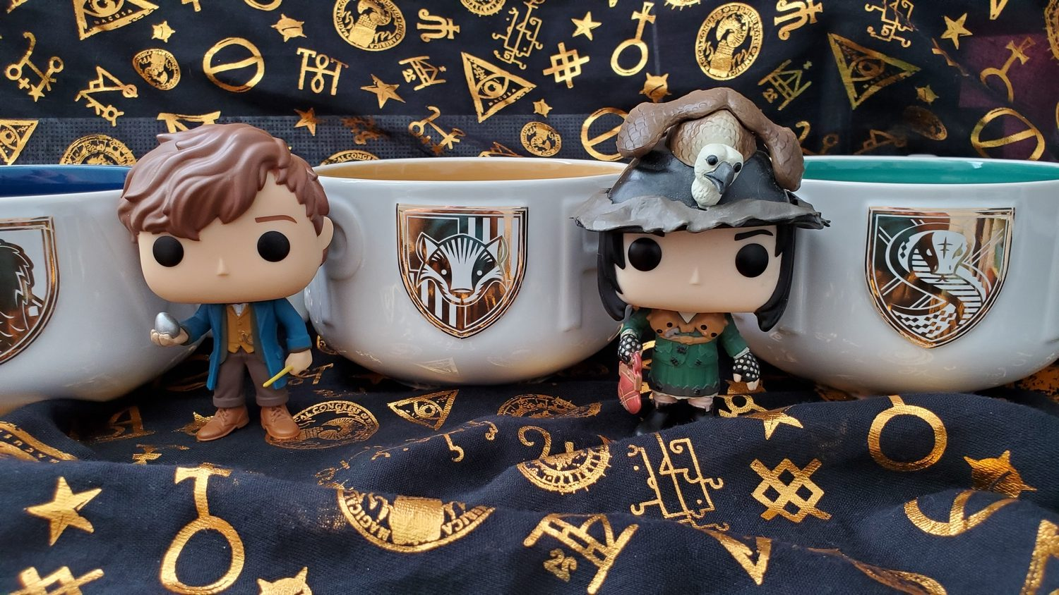 Harry Potter Soup Mugs from Hallmark Gold Crown – Ravenclaw, Hufflepuff, and Slytherin, featuring Newt Scamander and Snape as Neville's grandmother Funko POP!s