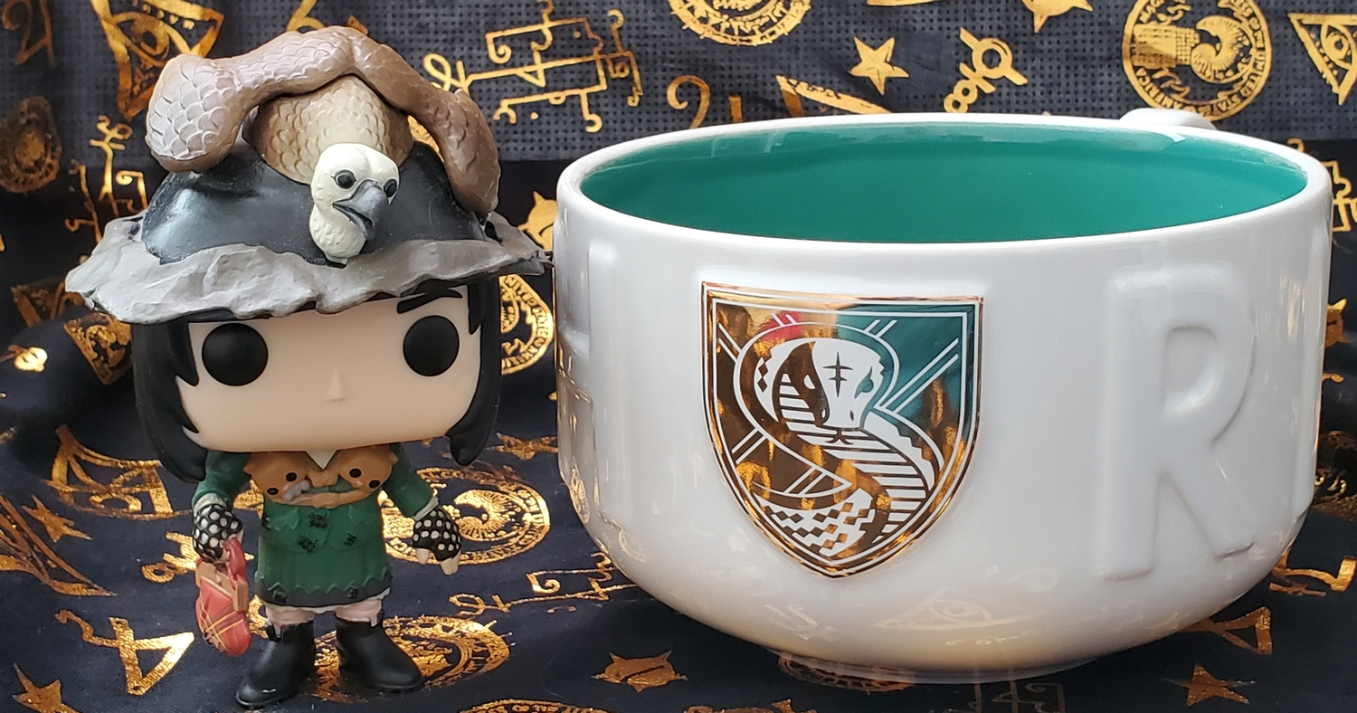 Harry Potter Soup Mugs from Hallmark Gold Crown – Slytherin crest in gold detail, pictured with Snape as Neville's grandmother Funko POP!