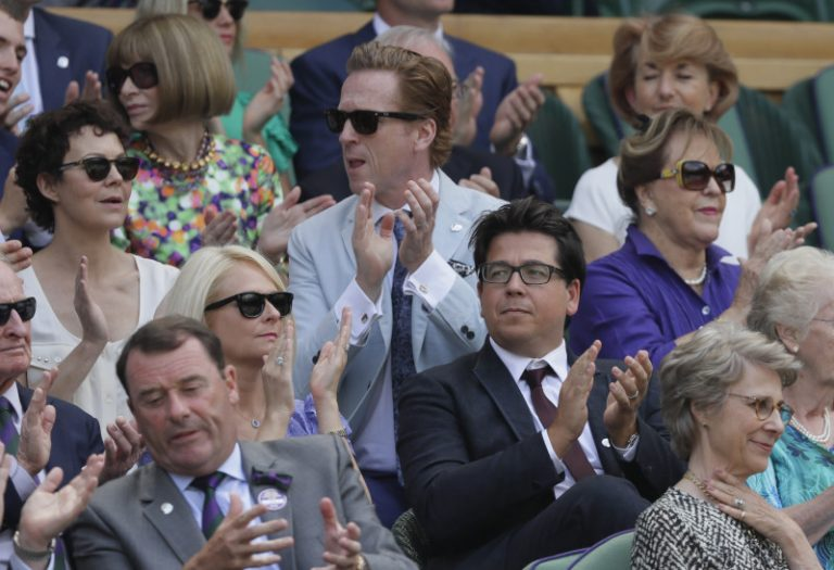 Helen McCrory and husband Damian Lewis in the Royal Box at Wimbledon.
