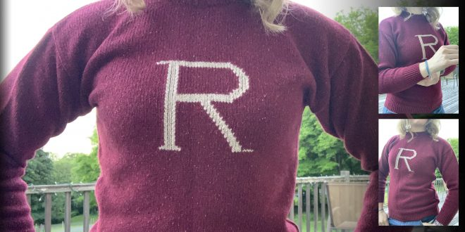 """Collage of pictures with close-ups of the """"R"""" in the middle of the maroon sweater"""