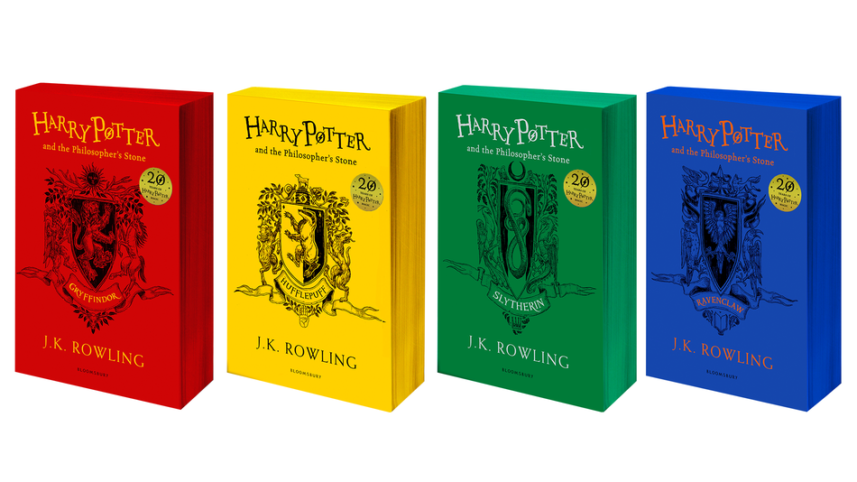 "The 20th anniversary collection of ""Harry Potter and the Philosopher's Stone"" paperback editions."