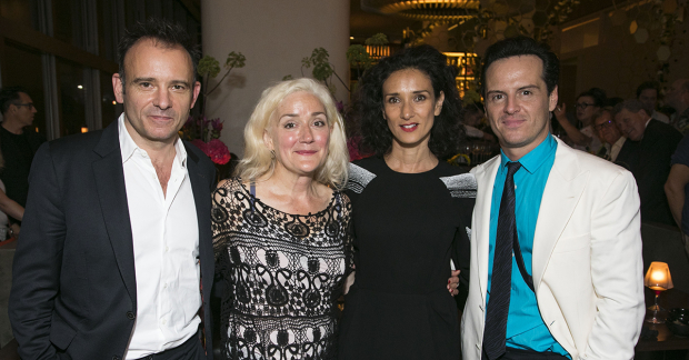 """Sophie Thompson poses for a photo on opening night of """"Present Laughter"""" with director Matthew Warchus, Indira Varma, and Andrew Scott."""