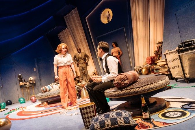 """Suzie Toase looks a bit peeved with Andrew Scott in """"Present Laughter""""."""