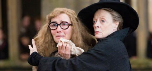 "Professor McGonagall is pictured comforting Professor Trelawney in a still from ""Harry Potter and the Order of the Phoenix""."