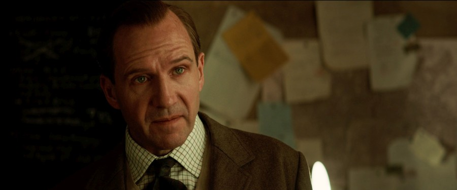 "Ralph Fiennes stresses the seriousness of the situation in a scene from ""The King's Man""."