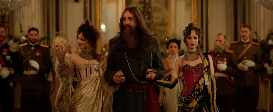 "Rhys Ifans looks positively devilish as Rasputin in a scene from ""The King's Man""."