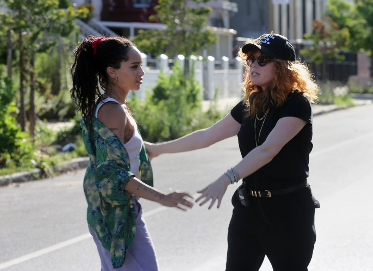 "Director Natasha Lyonne talks with Zoë Kravitz during filming for ""High Fidelity""."