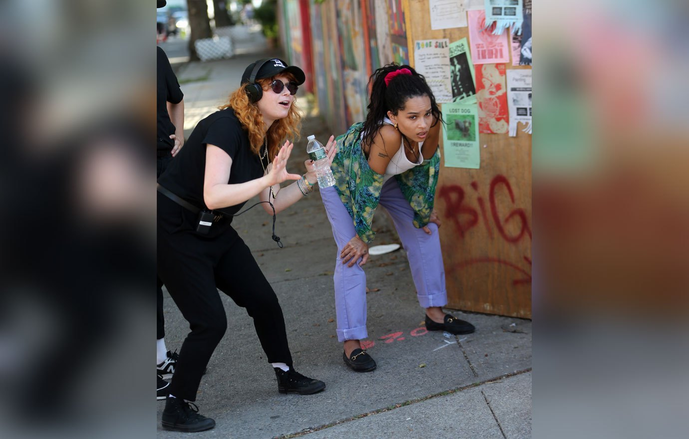 "Zoë Kravitz takes instruction from director Natasha Lyonne during filming for ""High Fidelity""."