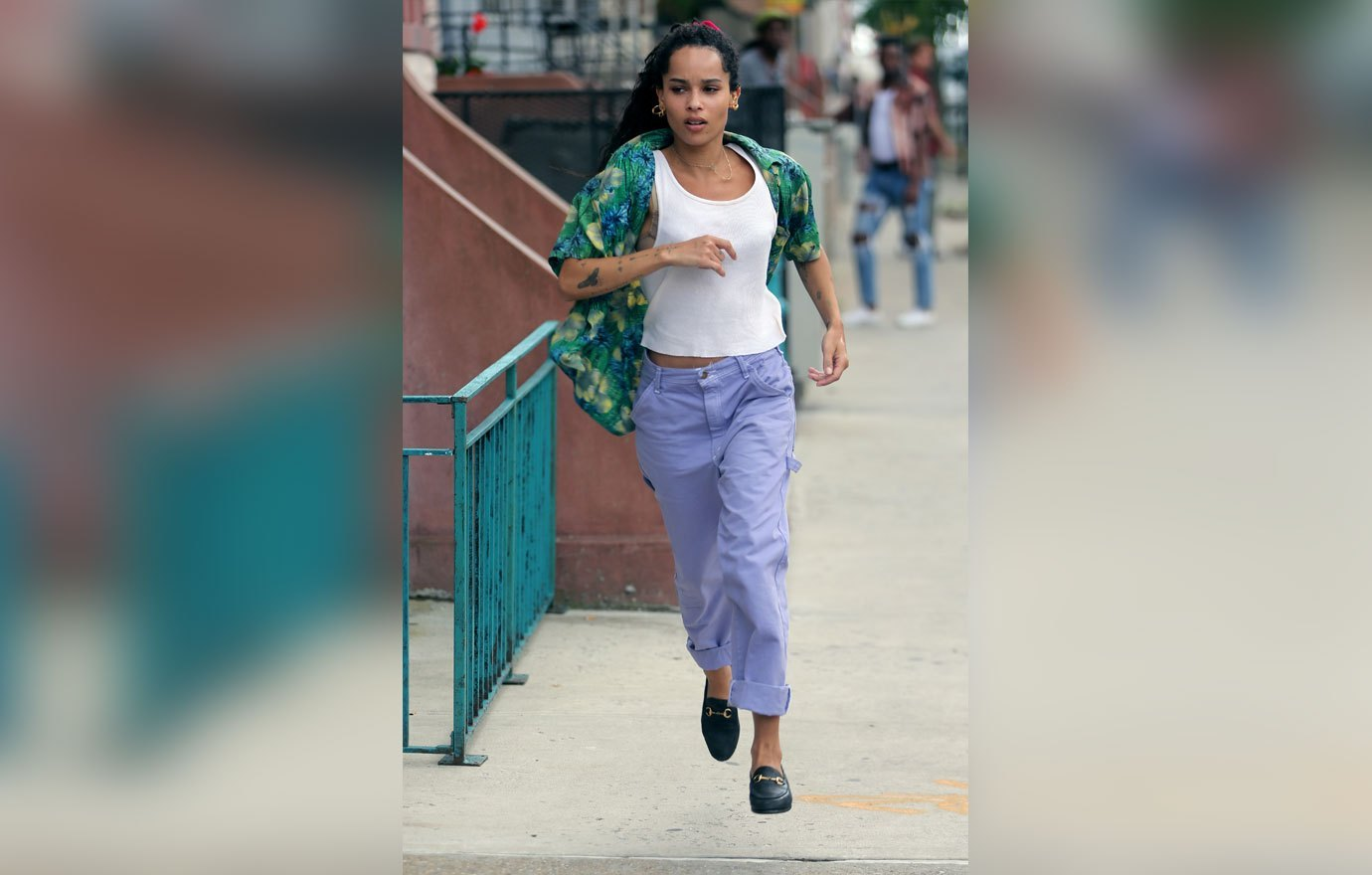 "Zoë Kravitz dashes through the streets of Brooklyn during filming for ""High Fidelity""."