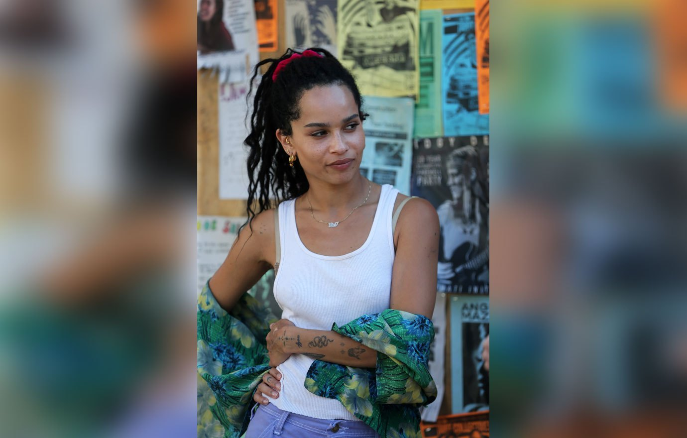 "Zoë Kravitz poses during filming for ""High Fidelity""."