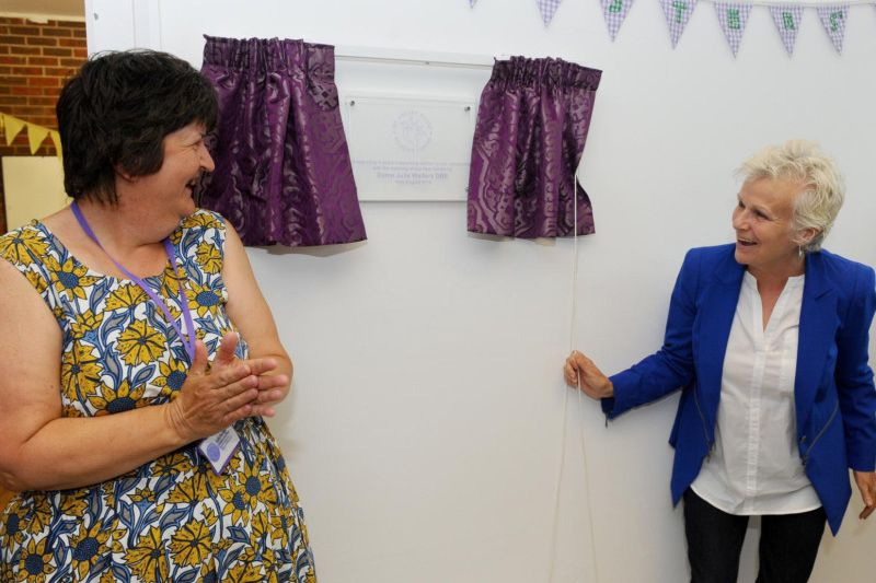 Dame Julie Walters laughs with My Sister's House CEO Julie Budge.