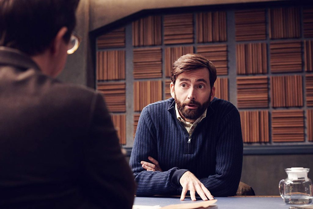 "David Tennant is pictured in a still from ""Criminal""."