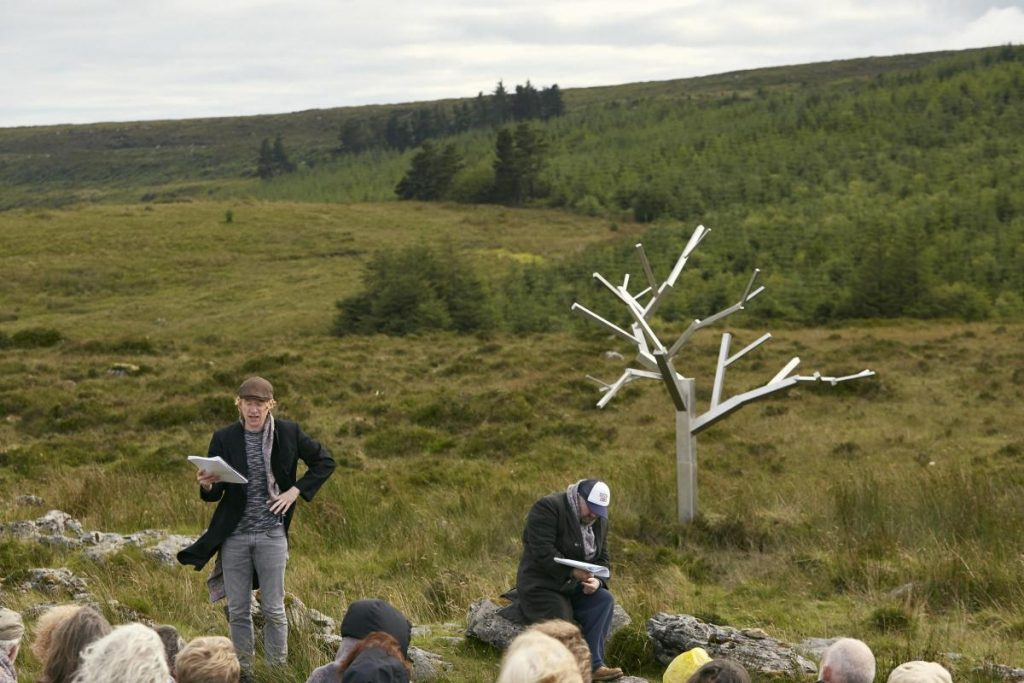 "Domhnall Gleeson as Vladimir and David Pearse as Estragon read a scene from ""Waiting for Godot"" at the Beckett Festival."