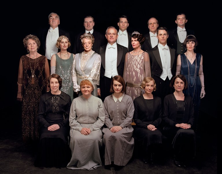 """The cast of the """"Downton Abbey"""" poses for a group photo."""