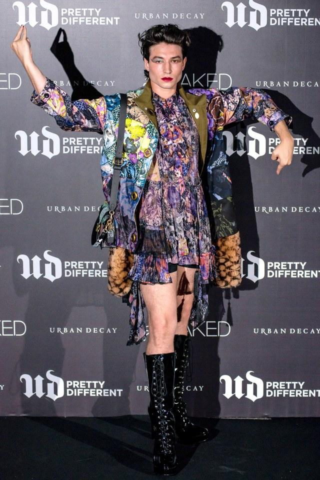 Ezra Miller struts his stuff during an appearance in Korea for Urban Decay's Pretty Different campaign.
