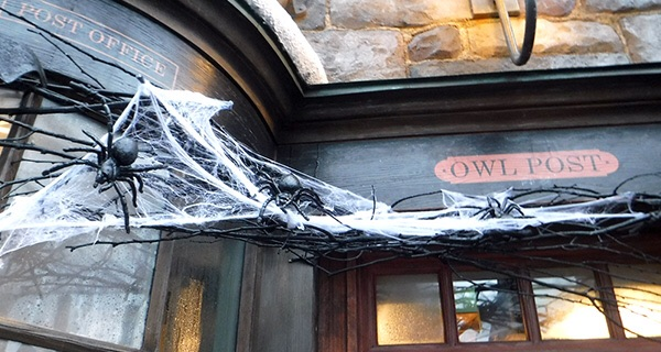 Owl Post at Hogsmeade decorated for Halloween.