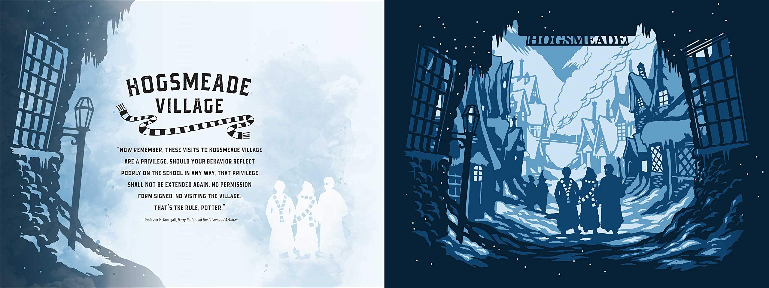 Join Harry, Hermione, and Ron in the snowy streets of Hogsmeade Village.
