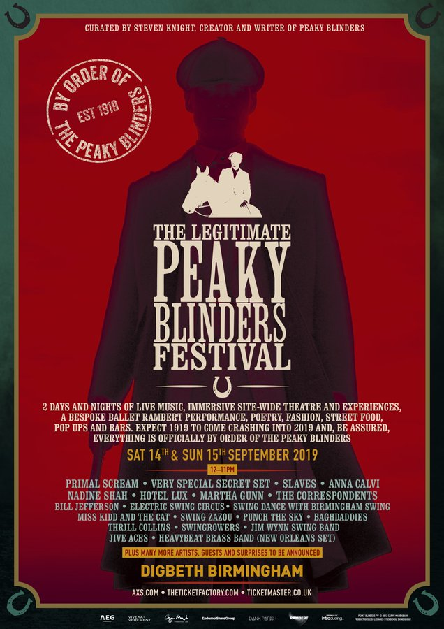 "A poster advertises events at an upcoming ""Peaky Blinders"" festival."