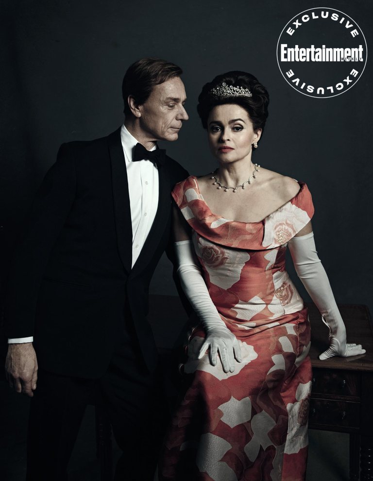 """Helena Bonham Carter poses with costar Ben Daniels during a photo shoot for """"The Crown""""."""