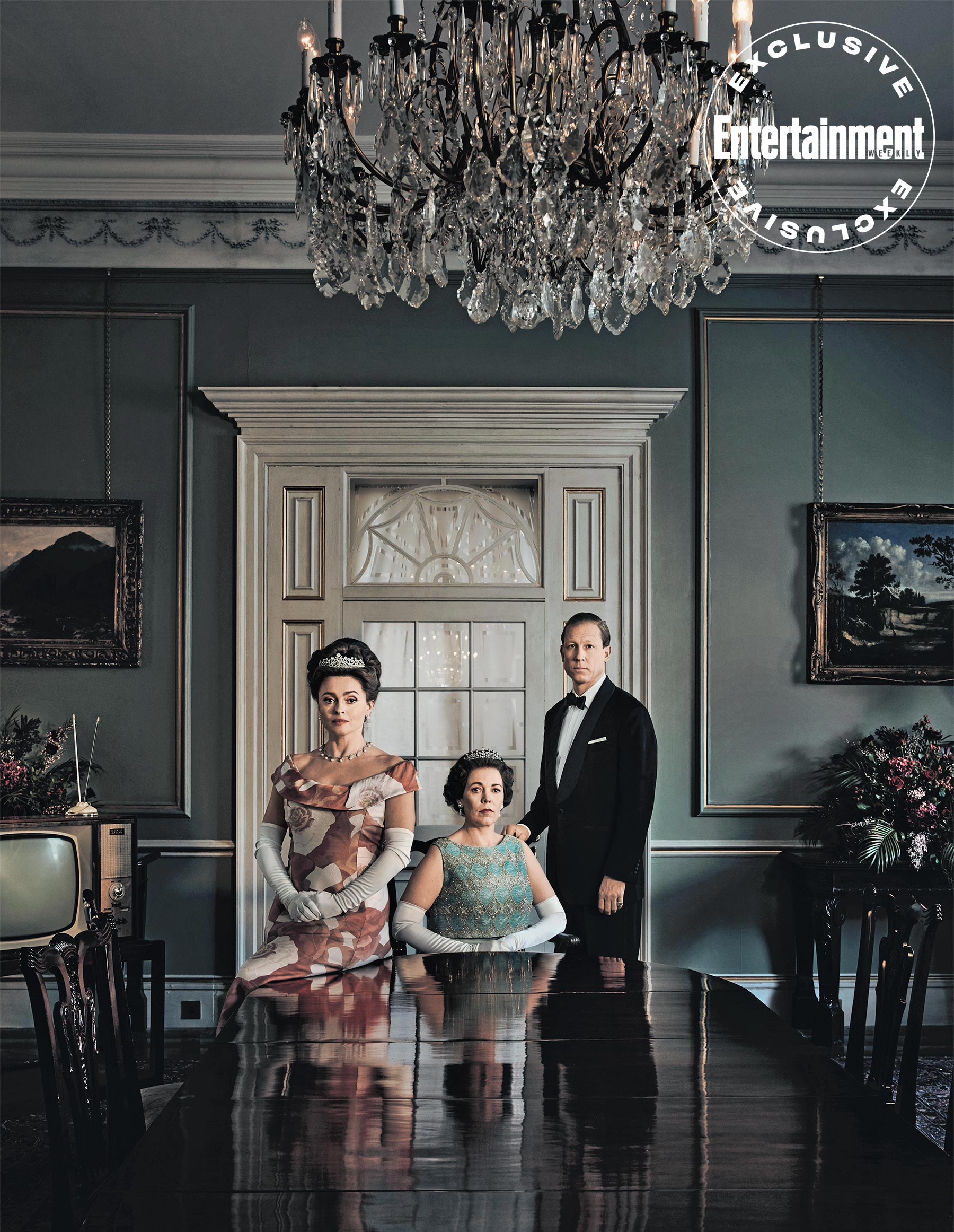 """Helena Bonham Carter as Princess Margaret poses with costars Olivia Colman and Tobias Menzies during a photo shoot for """"The Crown""""."""