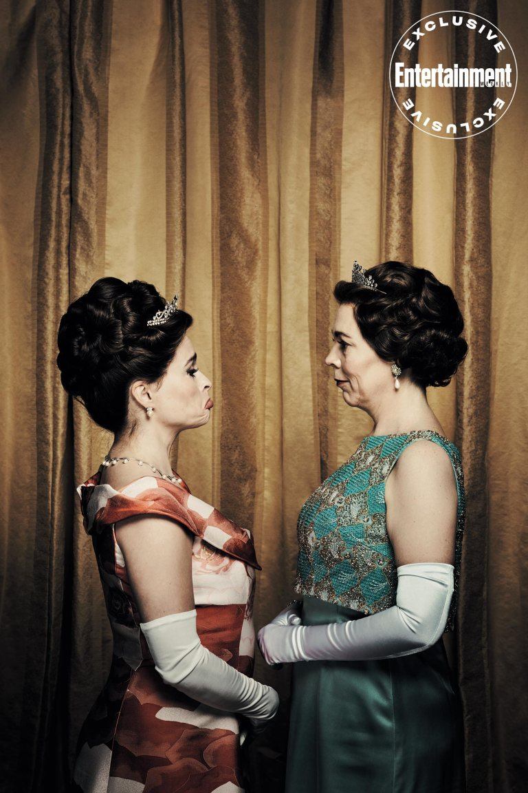 """Helena Bonham Carter has some fun with costar Olivia Colman during a photo shoot for """"The Crown""""."""