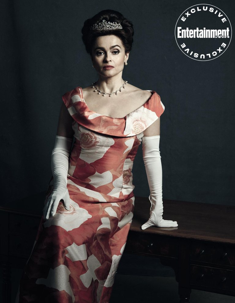 "Helena Bonham Carter poses as Princess Margaret during a photo shoot for ""The Crown""."