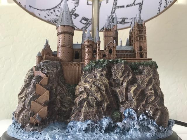 Harry Potter Hogwarts Lamp from The Bradford Exchange: Hogwarts Castle sculpture base, front view