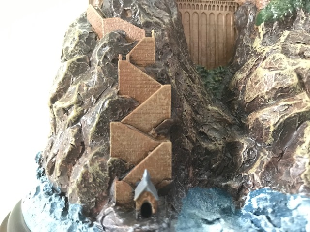 Harry Potter Hogwarts Lamp from The Bradford Exchange: close-up view of the path leading down to the lake, including a tiny hut at the bottom and visible brick detail