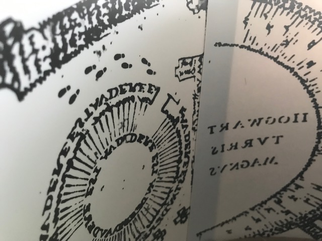 Harry Potter Hogwarts Lamp from The Bradford Exchange: the inside of the fabric lampshade is printed with the Marauder's Map design in inverse