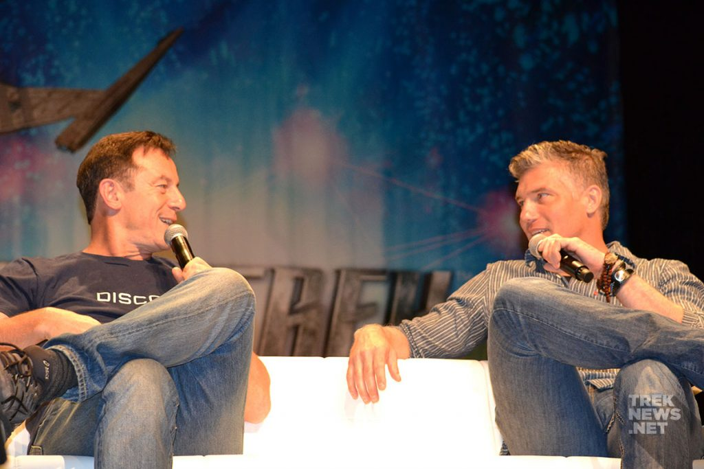 Jason Isaacs chats with Anson Mount at Star Trek Vegas.
