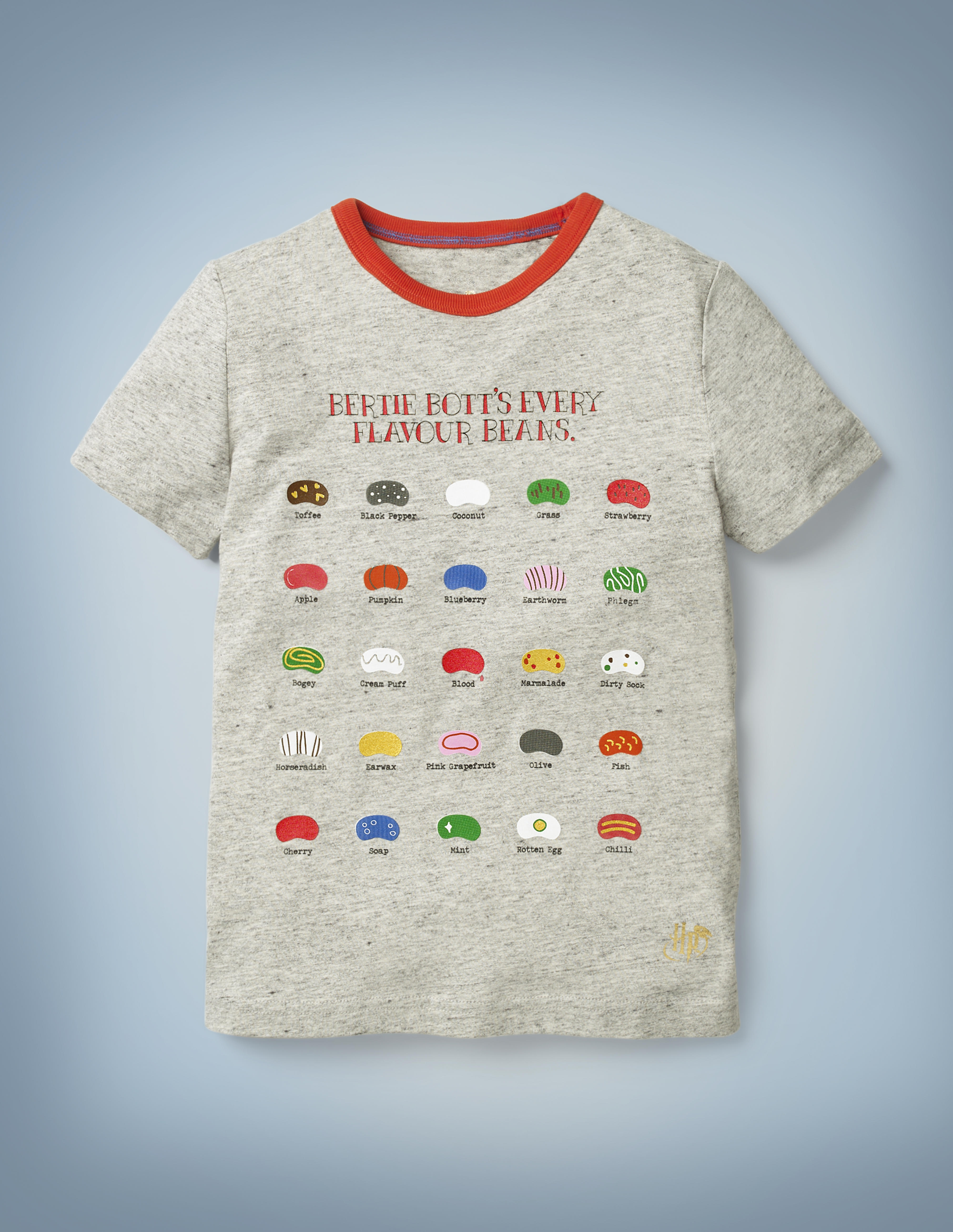 The Mini Boden Bertie Bott's T-shirt in gray sports a graphic design featuring 25 different Bertie Bott's Every Flavour Beans, from toffee to earwax. It retails at £18.