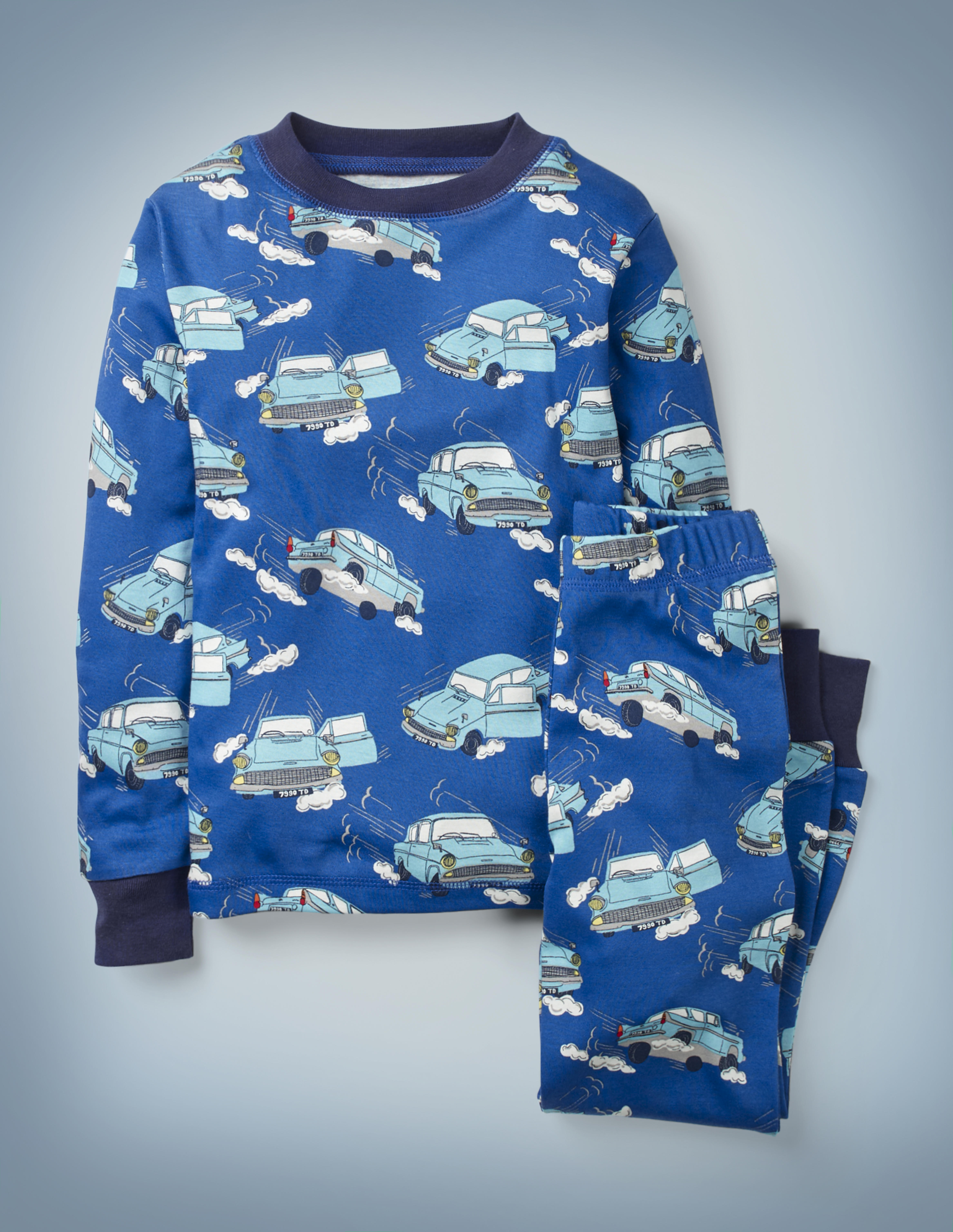 The Mini Boden Harry Potter Long John Pyjamas in blue feature all-over images of Arthur Weasley's flying Ford Anglia zooming through the sky. The top-and-bottom set retails at £24.