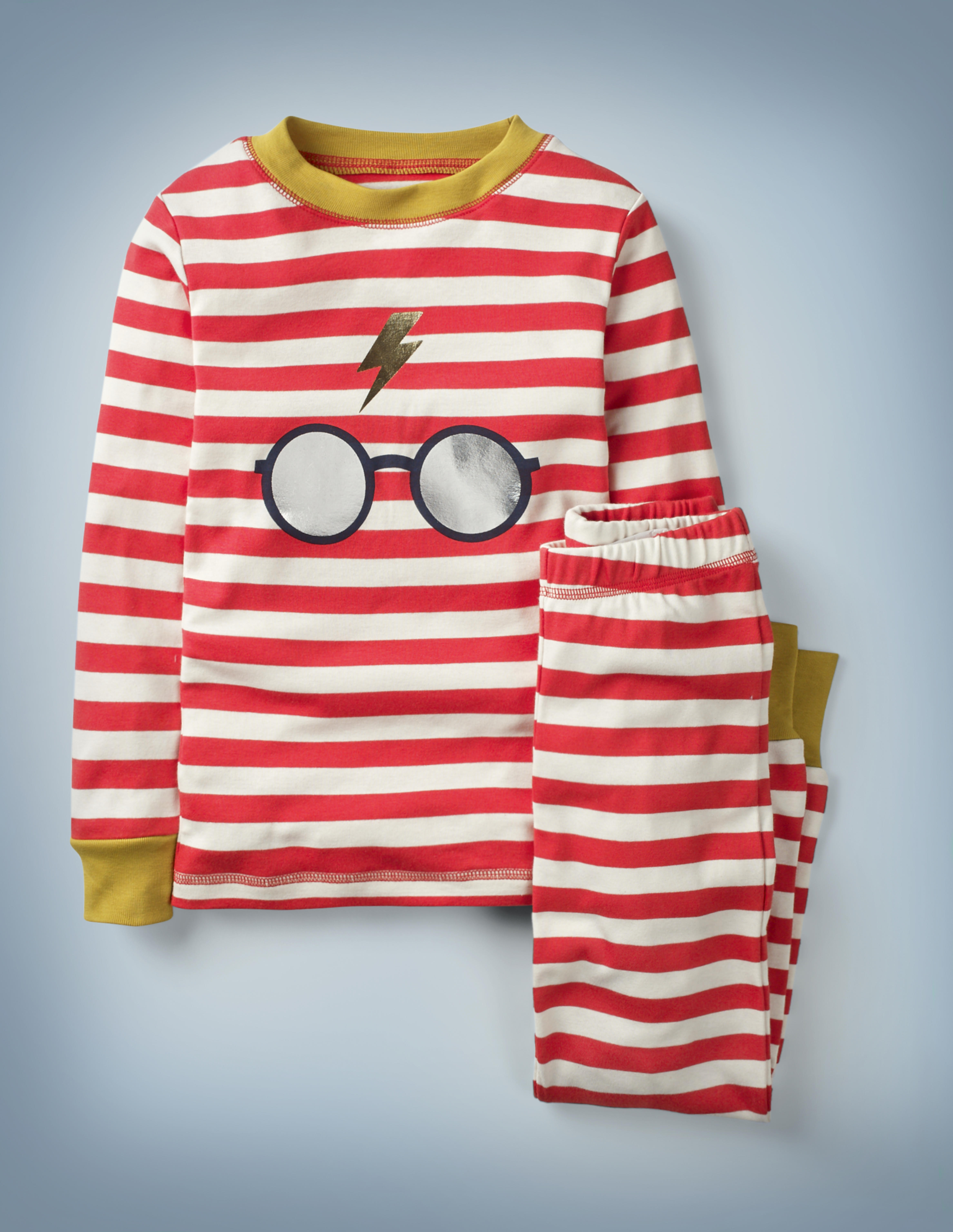 The Mini Boden Harry Potter Long John Pyjamas in red feature all-over red-and-white stripes with gold collar and cuffs, as well as a large central design of Harry Potter's glasses and lightning bolt scar. The top-and-bottom set retails at £24.