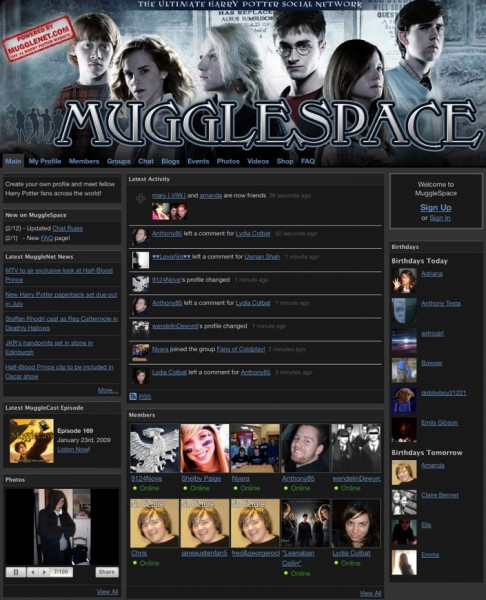 Landing Page for MuggleSpace in 2009