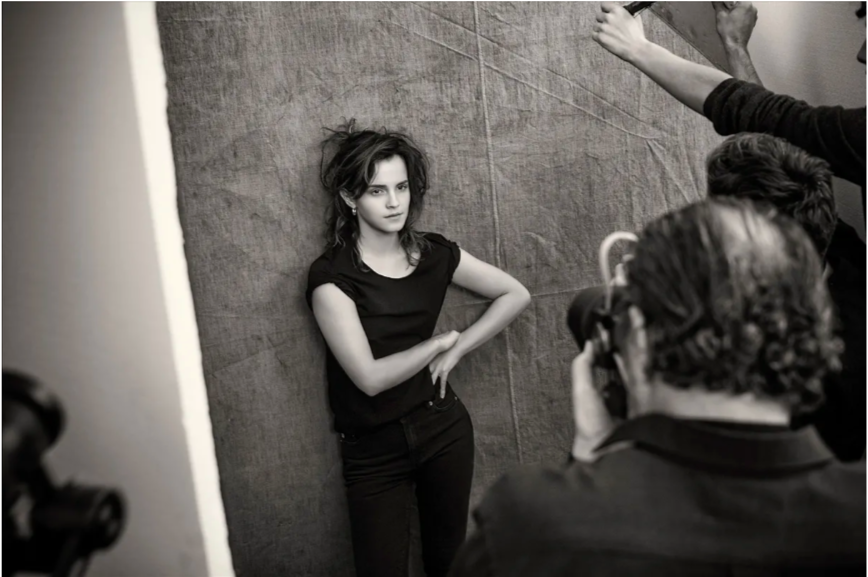 Emma Watson poses for photographer Paulo Roversi during a photoshoot for the Pirelli Calendar 2020 edition.