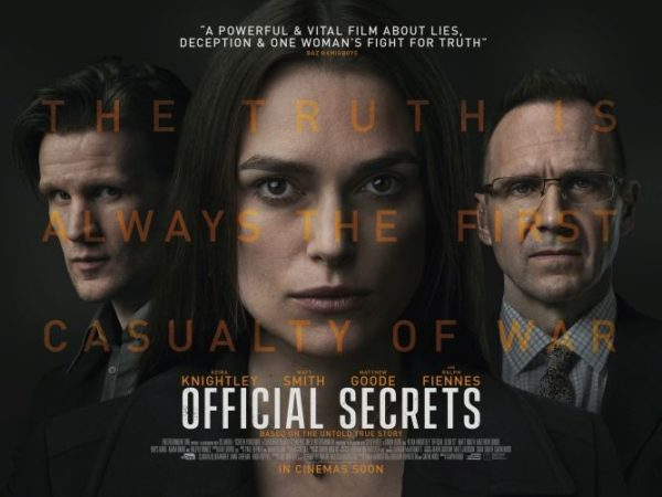 "Ralph Fiennes, Matt Smith, and Keira Knightley are featured in the post for ""Official Secrets""."