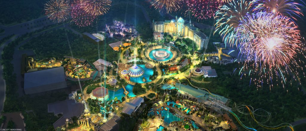 Concept art released today by Universal Orlando Resort provides a general feel for the potential configuration of Epic Universe.